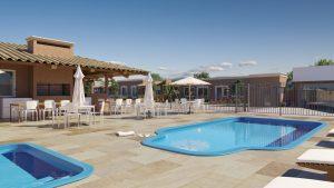 Área das piscinas do condomínio Reserva