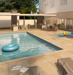 Reprodução da área de piscinas do Vert Condomínio Clube